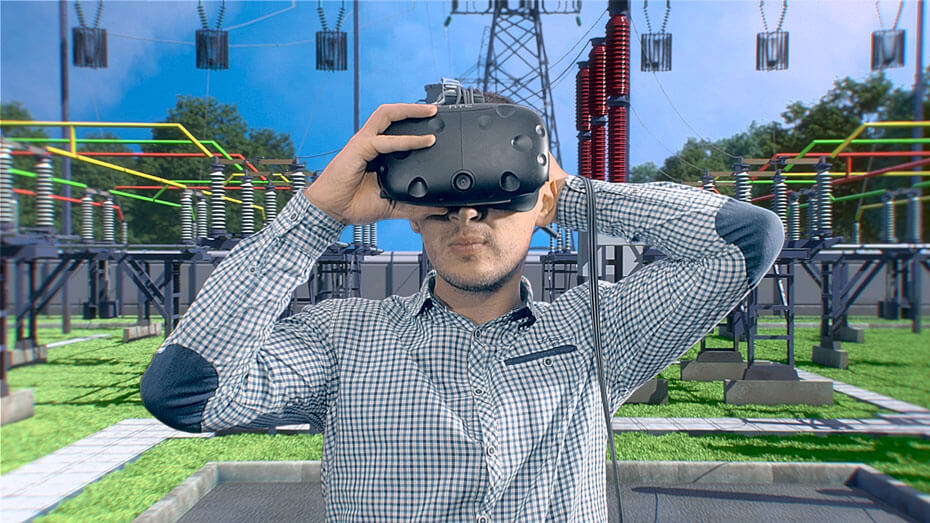 Virtual Reality Electrical Substation Training Location and Switchyard Equipments with a student wearing VR headset